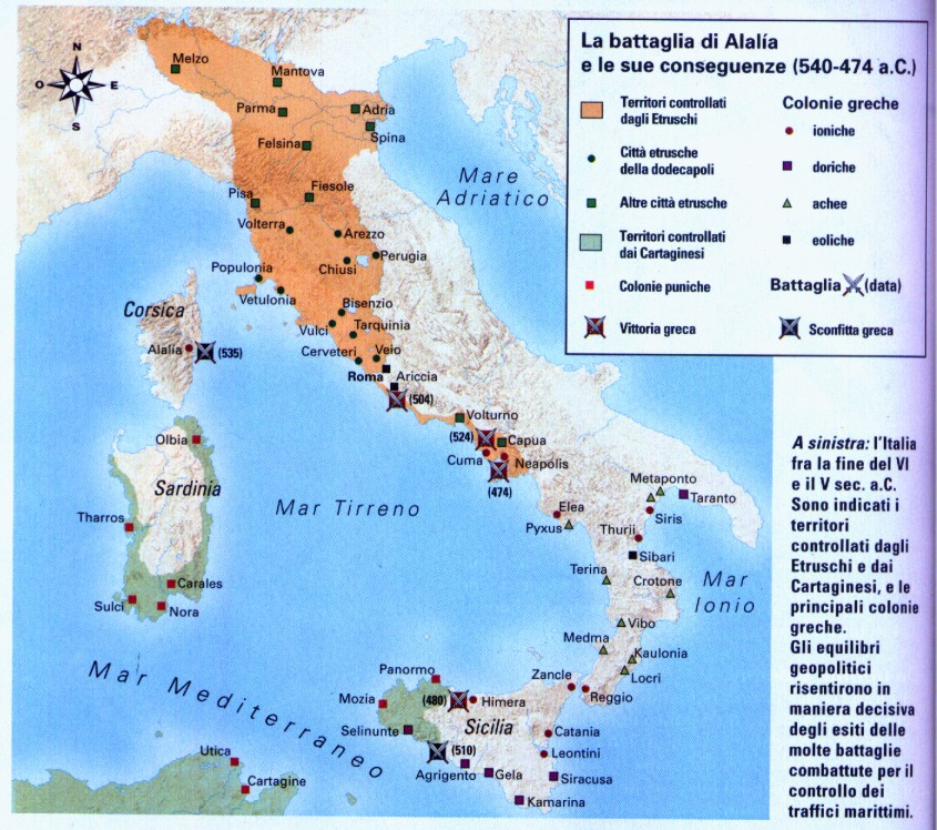 Cartina Dell Italia Al Tempo Degli Etruschi.L Italia Nel 500 A C
